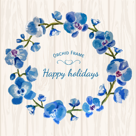 Blue orchid frame Stock Vector - 68695643