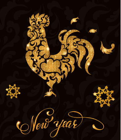 New year gold glitter rooster with lettering and snowflakes. Vector illustration EPS 10