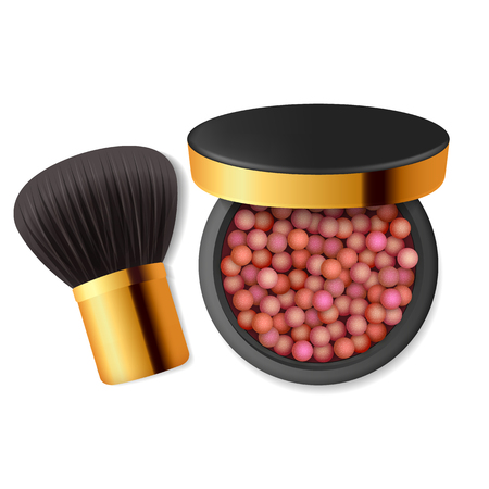 Make up a powder, blush. Skincare, beauty lifestyle. Vector illustration. Illustration