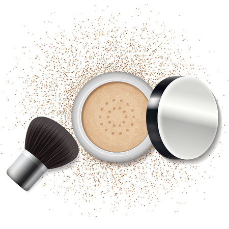 Make up ein Puder, erröten. Hautpflege, Beauty-Lifestyle. Vektor-Illustration.