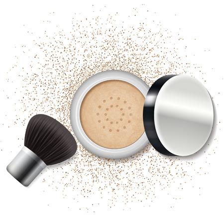 Make up a powder, blush. Skincare, beauty lifestyle. Vector illustration. Illustration