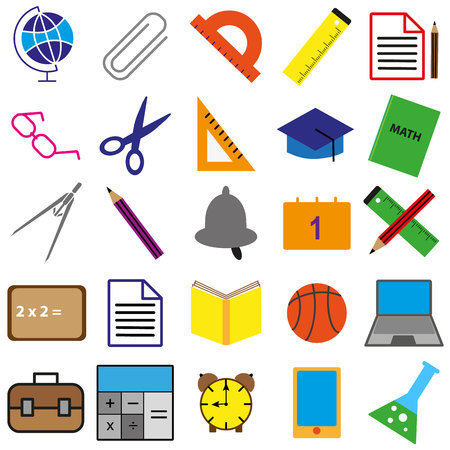 Set of black, white and color school web icons on white background. Illustration