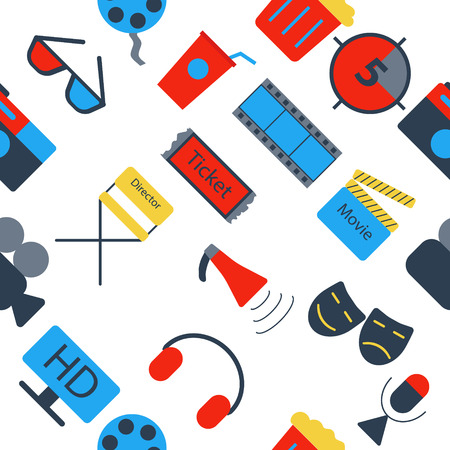 Set of colorful and white flat movie icons Illustration