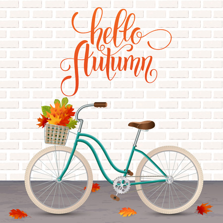 Autumn hand drawn lettering. Retro bicycle with basket of leaves. Healthy lifestyle, fitness. Vector illustration EPS10.