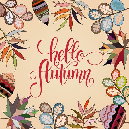 Autumn hand drawn lettering. Autumn leaves background. Vector illustration EPS10 Ilustração