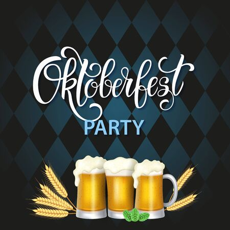 Oktoberfest lettering, a glass of beer. Autumn holidays. Vector illustration EPS10.