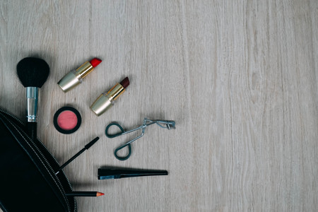 Top view of cosmetics and make-up items