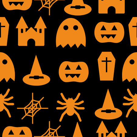 Set of halloween objects pumpkins and lettering. Greeting card for party and sale. Vector illustration EPS10.