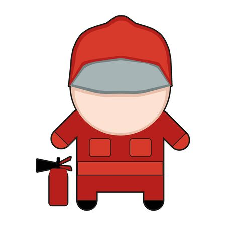 Profession character firefighter illustration.
