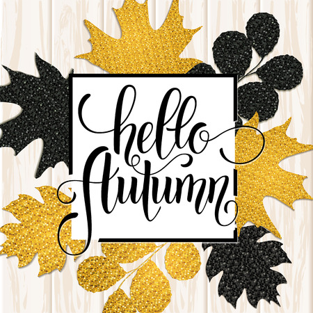 Autumn hand drawn lettering. Autumn leaves background. Vector illustration EPS10.