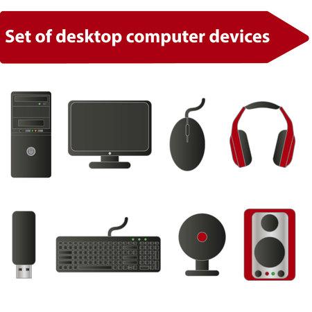 Set of computer parts icon.