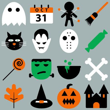 Set of halloween objects. Ilustração