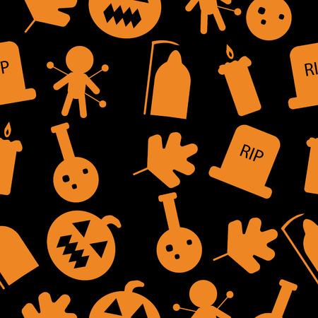 Set of halloween objects. Illustration