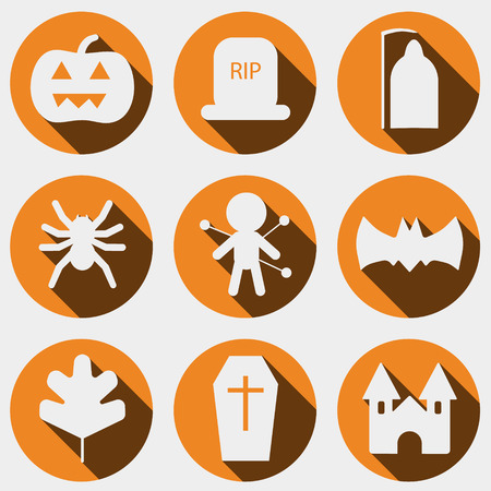 Set of halloween objects, pumpkins and lettering. Greeting card for party and sale. Vector illustration EPS10.