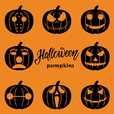 Set of Halloween objects, pumpkins and lettering. Greeting card for party and sale.