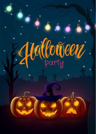 Halloween background, pumpkin. Greeting card for party and sale. Autumn holidays. Vector illustration EPS10. Ilustração