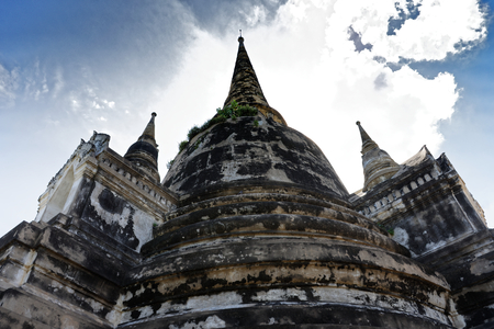 Photo of the triple pagoda in Wat Phra Si Sanphet in gorgeous view.