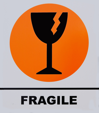 Fragile sign. This photo was taken from sign board, it is not an illustration work.