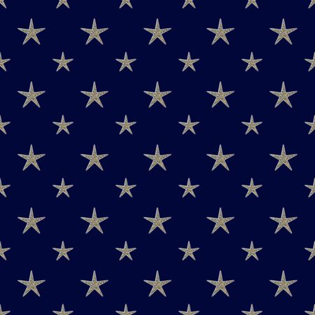 Encrusted Slivery Stars on Dark Blue Background Seamless Pattern