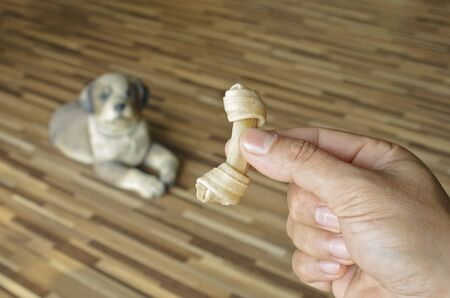 pig skin: fake bone for dogs Stock Photo