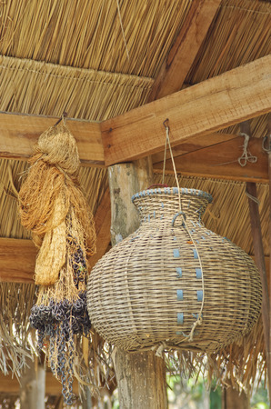 basketry: old net and basketry
