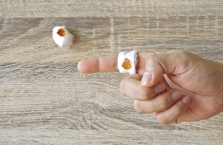 forefinger: bandage at forefinger Stock Photo