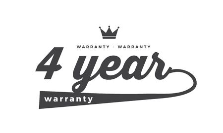 4 year warranty icon vintage rubber stamp guarantee Illustration