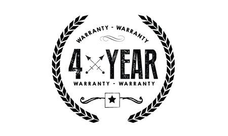 4 years warranty icon vintage rubber stamp guarantee Illustration