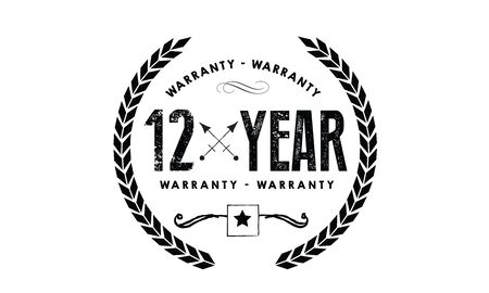 12 years warranty icon vintage rubber stamp guarantee Illustration