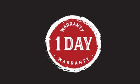 1 Day Warranty with black bakground