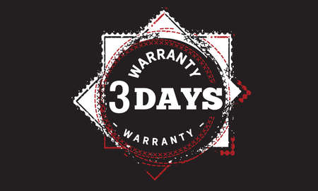 3 Days Warranty with black bakground