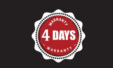 4 Days Warranty with black bakground Vectores