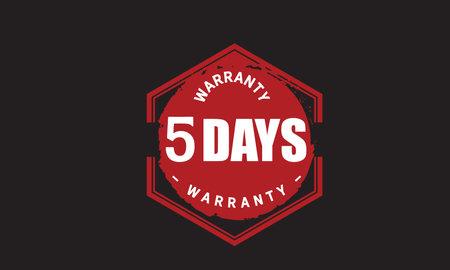 5 Days Warranty with black bakground
