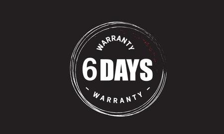 6 Days Warranty with black bakground