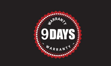 9 Days Warranty with black bakground