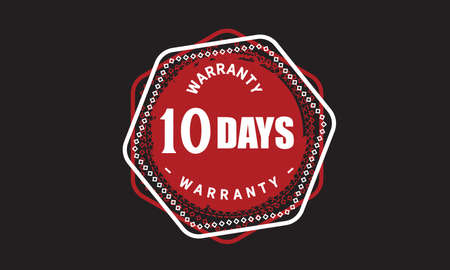 10 Days Warranty with black bakground