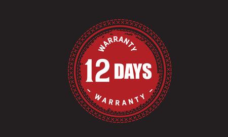 12 Days Warranty with black bakground