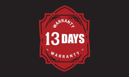 13 Days Warranty with black bakground