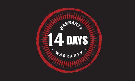 14 Days Warranty with black bakground Vectores