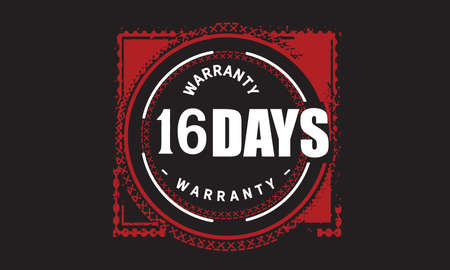 16 Days Warranty with black bakground