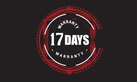 17 Days Warranty with black bakground Vectores