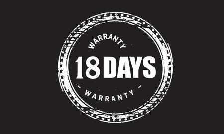 18 Days Warranty with black bakground Vectores