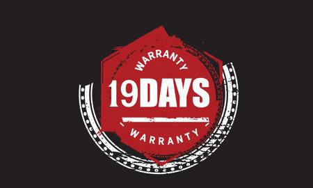 19 Days Warranty with black bakground Vectores