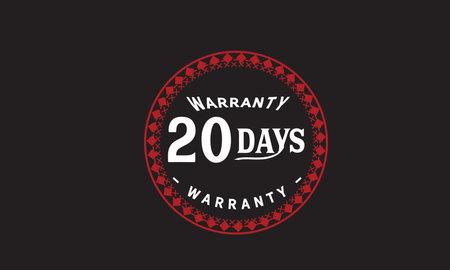 20 Days Warranty with black bakground