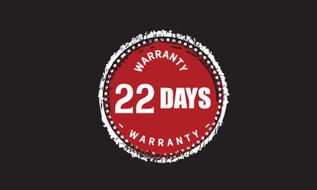 22 Days Warranty with black bakground Vectores