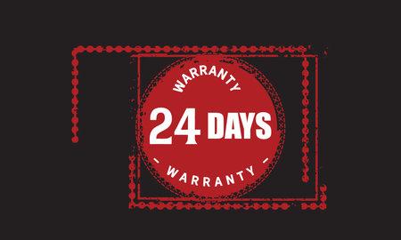 24 Days Warranty with black bakground Vectores