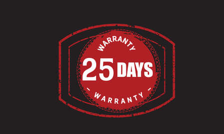 25 Days Warranty with black bakground