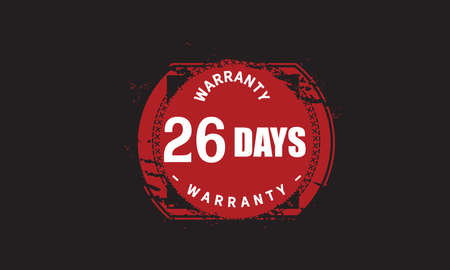 26  Days Warranty with black bakground Vectores