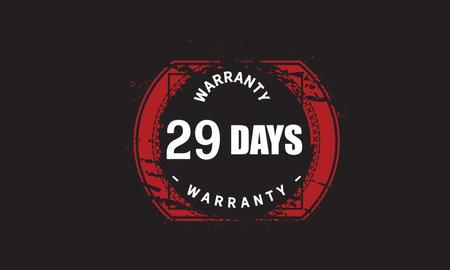 29 Days Warranty with black bakground