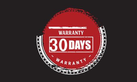 30 Days Warranty with black bakground Vectores